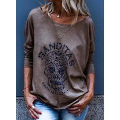 Drucken Rundhalsausschnitt Lange Ärmel Freizeit T-shirts