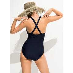 Solid Color Neon V-Neck Sexy One-piece Swimsuits