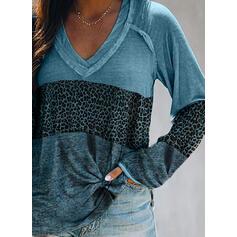 Color block Leopard V-hals Lange ærmer Casual T-shirts
