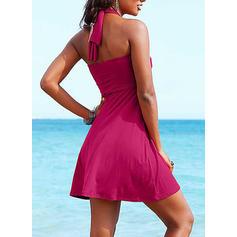 Einfarbig Trägerhemd Neckholder Schön Strandmode Badeanzüge