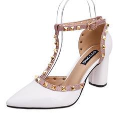 Frauen Lackleder Stämmiger Absatz Absatzschuhe Geschlossene Zehe mit Niete Schuhe