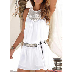 Solid Sleeveless Shift Above Knee Casual/Party Dresses