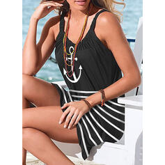 Solid Color Stripe Strap High Neck Cute Plus Size Casual Cover-ups Swimsuits