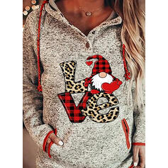 Print Grid Leopard Figur Lommer Lange ærmer Jule sweatshirt
