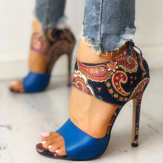 Frauen PU Stöckel Absatz Sandalen Peep Toe mit Reißverschluss Schuhe