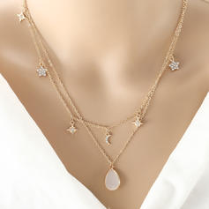 Star Shaped Alloy Rhinestones With Rhinestone Women's Fashion Necklace (Sold in a single piece)