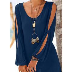 Solid Cold Shoulder Sleeve Shift Above Knee Little Black/Casual/Vacation Dresses