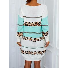 Blok Koloru/lampart Długie rękawy Dropped Shoulder Suknie shift Długośc do kolan Nieformalny Sweter Sukienki