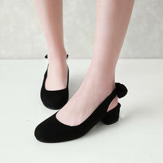 Women's Suede Low Heel Slingbacks With Bowknot shoes