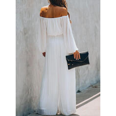 Solid Square Collar Long Sleeves Casual Elegant Jumpsuit