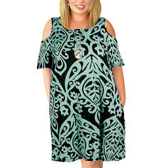 Print/Floral Short Sleeves Shift Above Knee Casual/Vacation/Plus Size Dresses