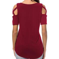Drucken Rundhalsausschnitt Kurze Ärmel Freizeit Stricken T-shirt
