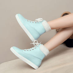 Femmes Similicuir Talon plat Chaussures plates Bottes Bottines avec Dentelle chaussures