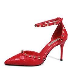 Femmes Similicuir Talon stiletto Escarpins Bout fermé avec Rivet chaussures