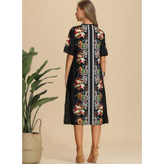 Print/Floral Short Sleeves Shift Midi Casual/Elegant/Vacation Dresses