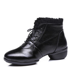 Women's Modern Sneakers Ballroom Sneakers Real Leather Lace Ballroom
