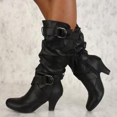 Bayanlar PU Biriktirme Topuk Pompalar bot ayakkabı Ile Toka ayakkabı