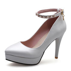 Women's Patent Leather Stiletto Heel Pumps Platform Closed Toe With Imitation Pearl shoes