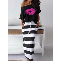 Striped Short Sleeves Sheath Casual Midi Dresses