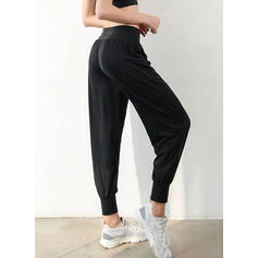 Patchwork Long Long Solid Sporty Pants