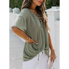 Solid V-Neck 1/2 Sleeves Casual Knit Blouses