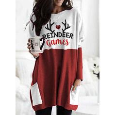 Nyomtatás Szív Kerek nyak Hosszú ujjú Karácsonyi pulóver