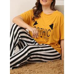 Gola Redonda Manga Curta Impressão Tamanho positivo Listra Conjuntos de pijamas
