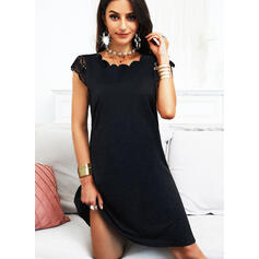 Lace/Solid/Backless Cap Sleeve A-line Knee Length Little Black/Casual Skater Dresses