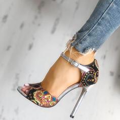 Mulheres PU Salto agulha Sandálias Peep toe com Fivela sapatos