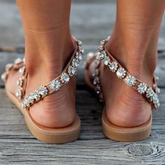 Women's PU Flat Heel Sandals Flats With Flower shoes