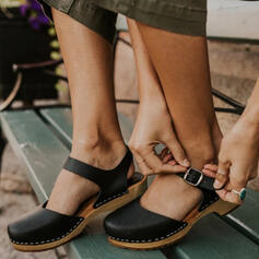 Femmes PU Talon bas Compensée Bout carré avec Boucle chaussures
