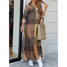 Color Block/Plaid Long Sleeves Shift Shirt Casual Maxi Dresses