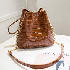 Bucket Shaped/Alligator Pattern/Commuting PU Crossbody Bags/Shoulder Bags/Bucket Bags