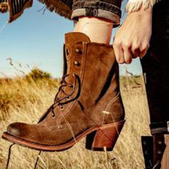 Frauen PU Stämmiger Absatz Stiefel mit Zuschnüren Schuhe