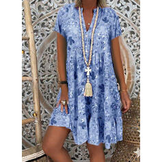 Print 3/4 Sleeves Shift Knee Length Casual/Elegant Dresses