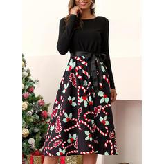 Print Long Sleeves A-line Vintage/Christmas/Casual/Elegant Midi Dresses