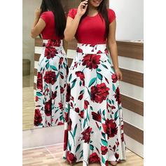 Impresión/Floral Manga Corta Acampanado Casual Maxi Vestidos