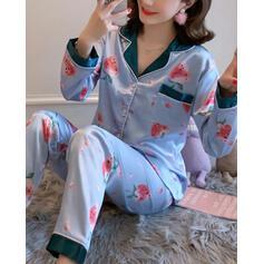 Cuello en V Manga Larga Impresión Casual Conjuntos de top y pantalones