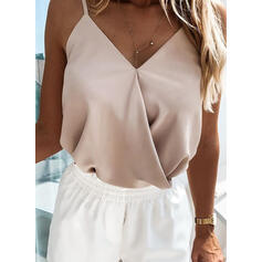 Solid Spaghetti Strap Sleeveless Casual Sexy Tank Tops