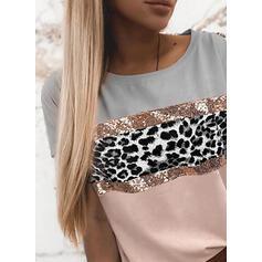 Farbblock Leopard Rundhalsausschnitt Kurze Ärmel T-Shirts