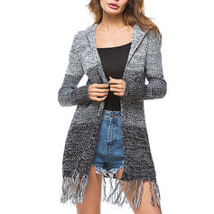Polyester Long Sleeves Color Block Chunky knit