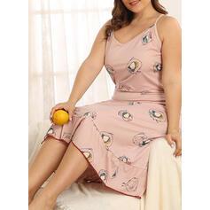 Spaghetti Straps Sleeveless Floral Plus Size Attractive Night Dress