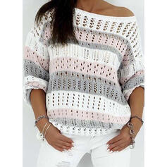 Color Block One Shoulder Casual Sweaters