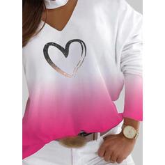Print Gradient Heart V-Neck Long Sleeves Casual Blouses