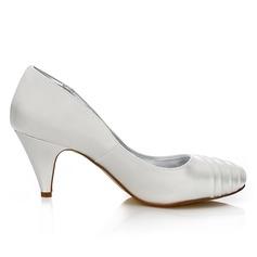 Frauen Satin Kegel Absatz Geschlossene Zehe Absatzschuhe Färbbare Schuhe