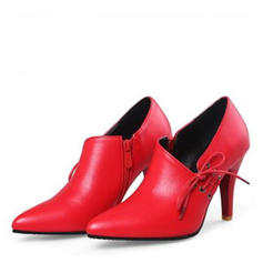 Women's PU Cone Heel Pumps Closed Toe With Lace-up shoes