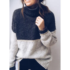 Color block Turtleneck Casual Trøjer