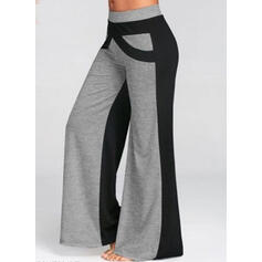 Patchwork Shirred Long Casual Sporty Pants