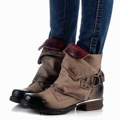 Kvinner PU Flat Hæl Flate sko Lukket Tå Støvler Mid Leggen Støvler med Spenne sko