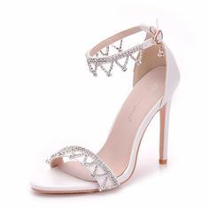 Women's Leatherette Spool Heel Peep Toe Pumps With Chain